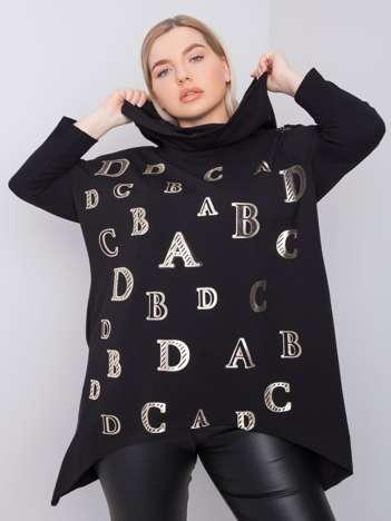 Czarna bluza plus size z kapturem Aina