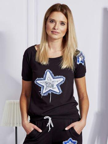 Czarna bluza z denimową gwiazdą