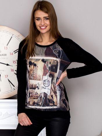 Czarna bluza z fotograficznym nadrukiem