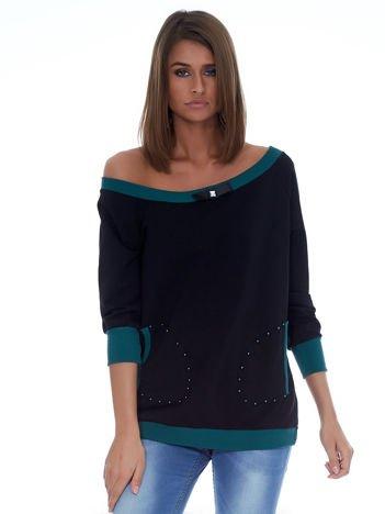 Czarna bluza z kontrastowymi ściągaczami i perełkami