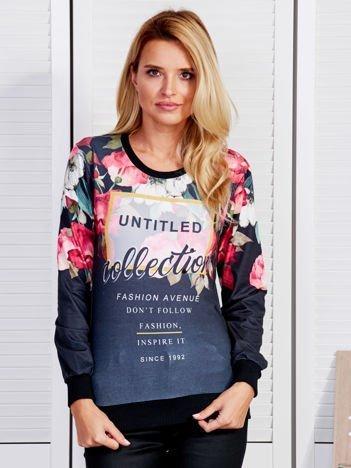 Czarna bluza z tekstowym printem i motywem kwiatowym