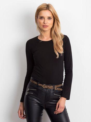 Czarna bluzka basic z długim rękawem