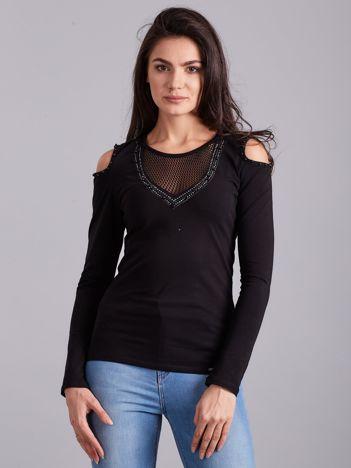Czarna bluzka cold shoulder z aplikacją