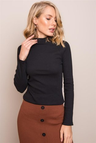 Czarna bluzka damska z długim rękawem BSL