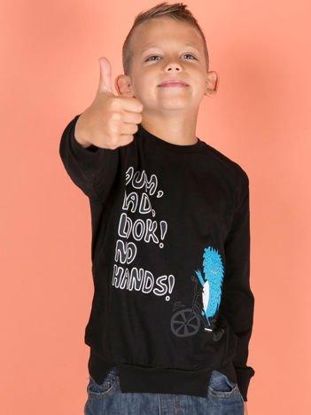 Czarna bluzka dla chłopca z komiksowym nadrukiem