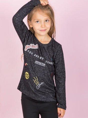 Czarna bluzka dla dziewczynki z naszywkami