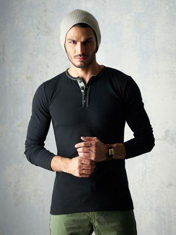 Czarna bluzka męska z długim rękawem