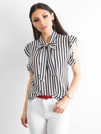 Czarna bluzka w paski z wiązaniem