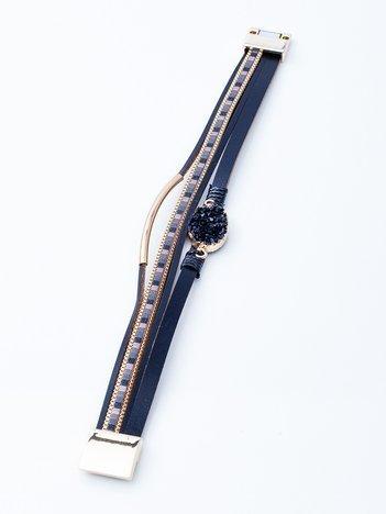 Czarna bransoletka na magnez ze zdobieniami