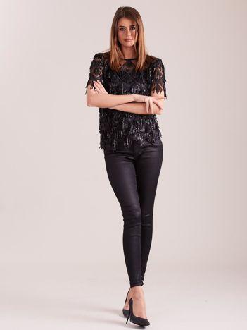 Czarna cekinowa bluzka
