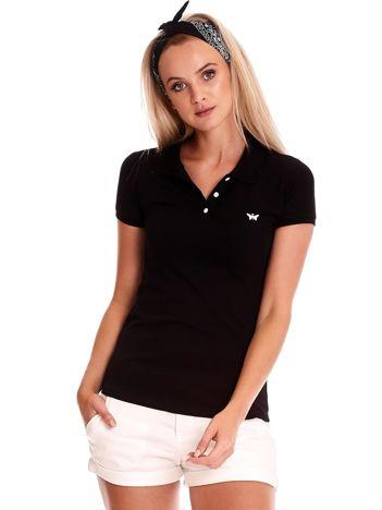 Czarna damska koszulka polo