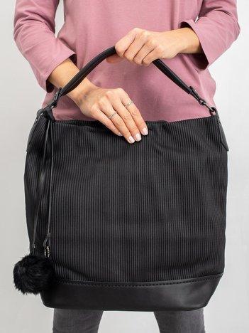 Czarna damska torba z pomponem