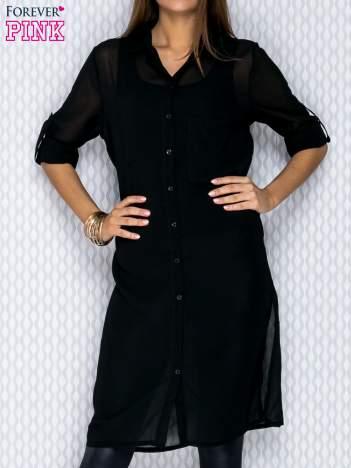 Czarna długa koszula mgiełka