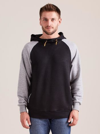 Czarna dresowa bluza męska z kapturem