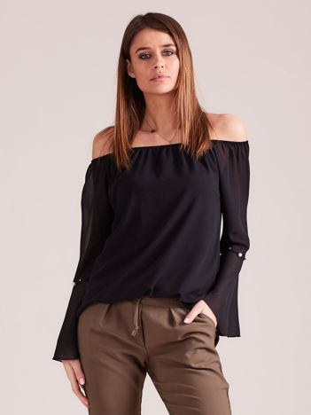 Czarna elegancka bluzka hiszpanka z perełkami