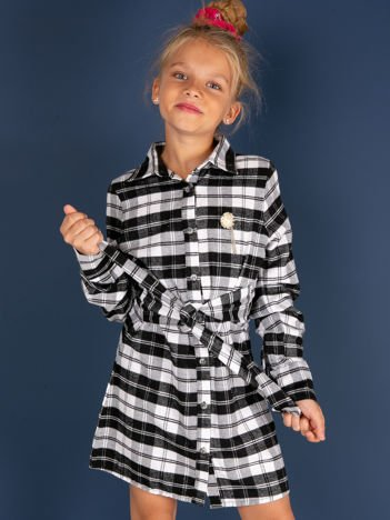 Czarna flanelowa sukienka dla dziewczynki w kratę