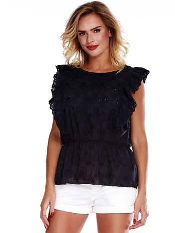 Czarna haftowana bluzka z marszczeniem