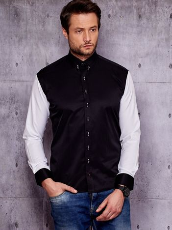 Czarna koszula męska z kontrastowymi rękawami PLUS SIZE