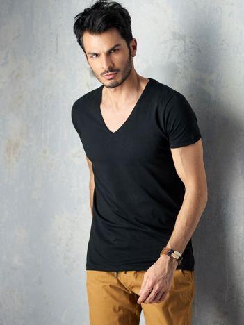 Czarna koszulka męska V-neck