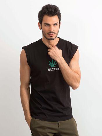 Czarna koszulka męska z nadrukiem