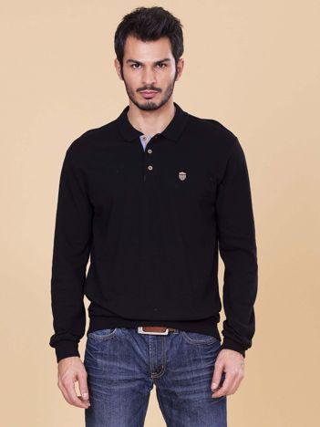 Czarna koszulka polo męska z długim rękawem