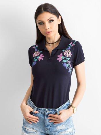 Czarna koszulka polo z kolorowym kwiatowym printem