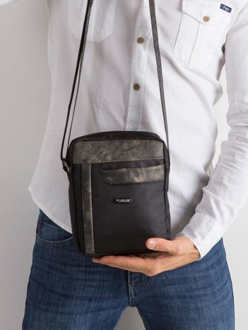 Czarna materiałowa męska torba