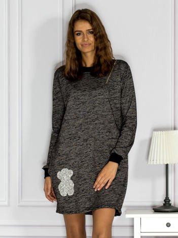 Czarna melanżowa sukienka z błyszczącą aplikacją i suwakiem
