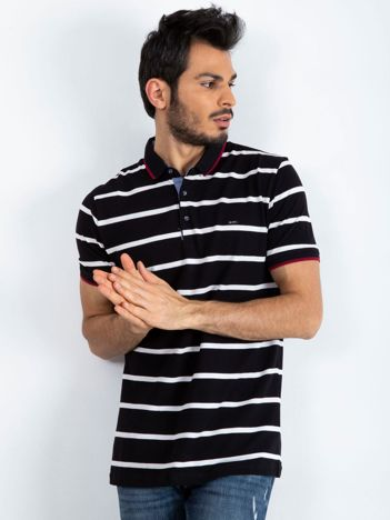 Czarna męska koszulka polo Throwback
