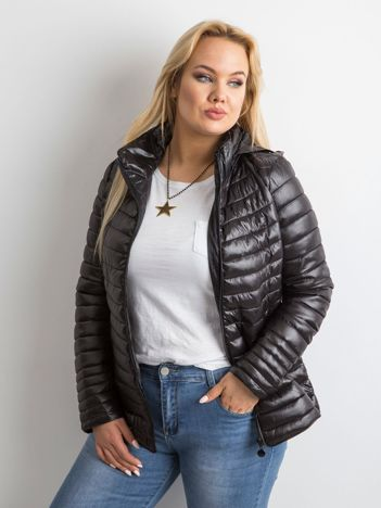 Czarna pikowana kurtka plus size