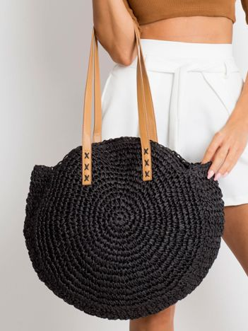 Czarna pleciona torba damska