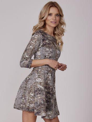 Czarna rozkloszowana sukienka crocodile skin
