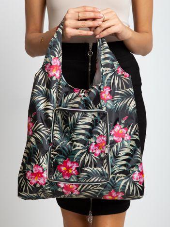 Czarna składana torba na zakupy we wzory