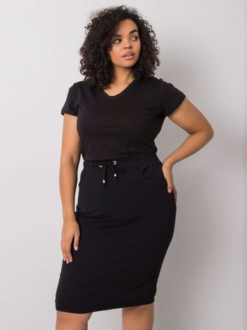 Czarna spódnica plus size z bawełny Andreia