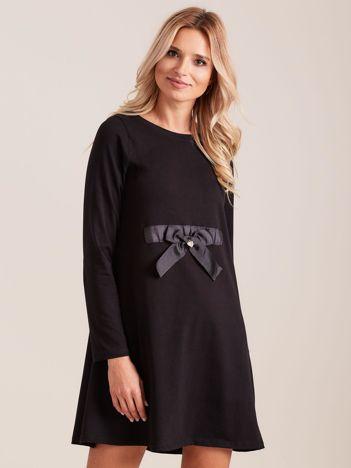 Czarna sukienka bawełniana z kokardą