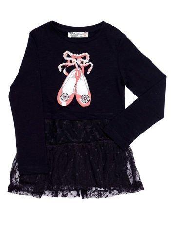 Czarna sukienka dla dziewczynki z nadrukiem i koronką