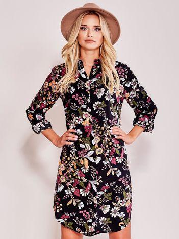 Czarna sukienka koszulowa w kwiaty