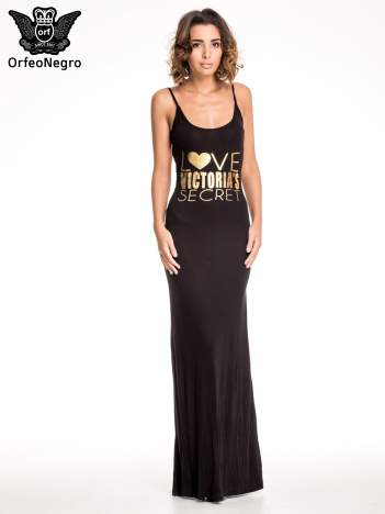 Czarna sukienka maxi z napisem LOVE VICTORIA'S SECRET