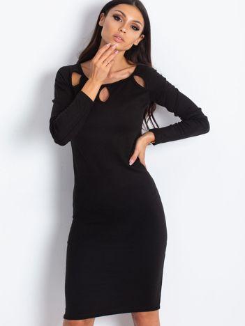 Czarna sukienka midi damska