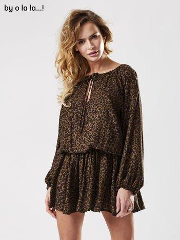 Czarna sukienka w cętki BY O LA LA