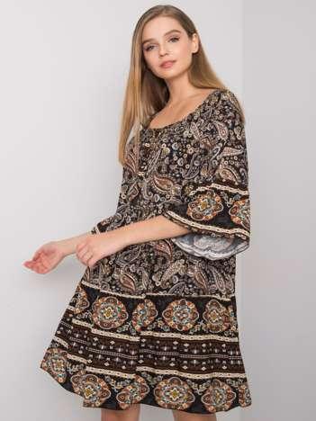 Czarna sukienka w etniczne wzory Vespa OCH BELLA