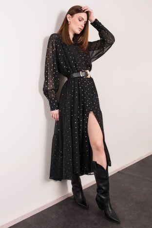 Czarna sukienka w grochy BSL