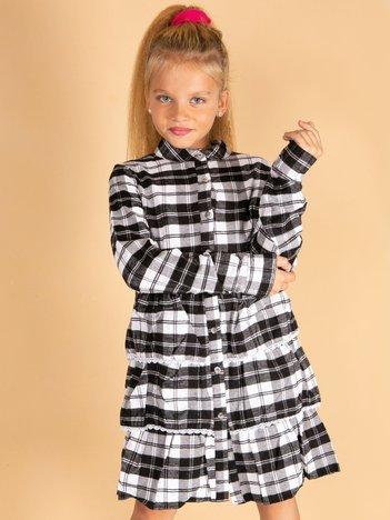 Czarna sukienka w kratę dla dziewczynki z warstwowymi falbanami