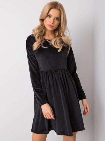 Czarna sukienka welurowa Mauriel RUE PARIS
