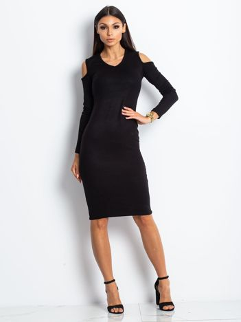 Czarna sukienka z dzianiny cold arms