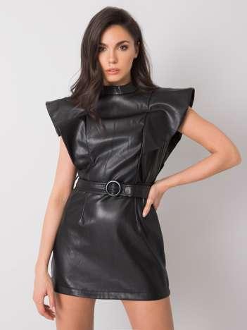 Czarna sukienka z ekoskóry Maricela