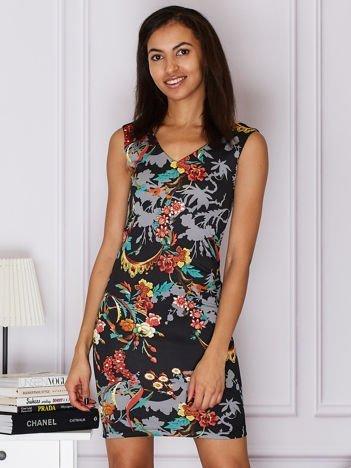 Czarna sukienka z kolorowym motywem floral print