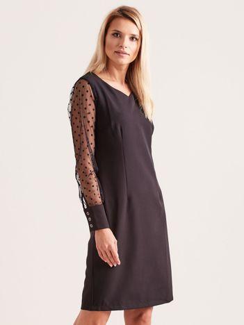 Czarna sukienka z mankietami