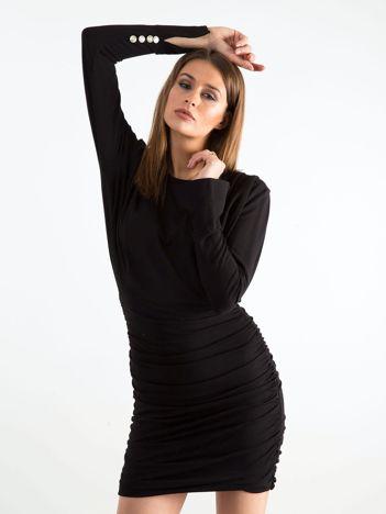 Czarna sukienka z marszczeniem BY O LA LA