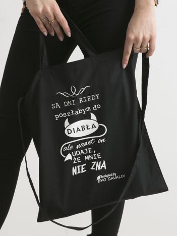 Czarna torba ekologiczna z zabawnym zdaniem